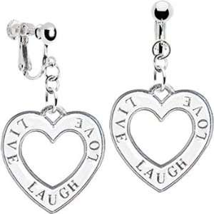 Sterling Silver White Live Laugh Love Clip Earrings Jewelry