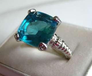 Blue Topaz CZ (princess cut ) Womens Ring Size 5