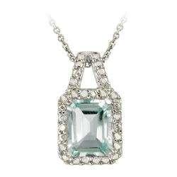 Glitzy Rocks Sterling Silver Blue Topaz and Diamond Accent Necklace