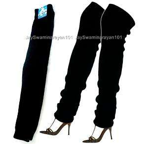 Pairs Womens Girls Knit Long Leg Warmers Stretchy Black 24