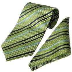 Boston Traveler Mens Striped Tie Hanky Set