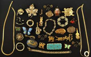 34 Pc Gold Toned Jewelry Pins/Brooches Necklaces & Bracelets Enameled