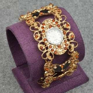 Swarovski Crystal Love Heart Women's 18K GP Gold Plated Wrist Bangle