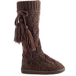 Muk Luks Womens Marled Cable Knit Boots