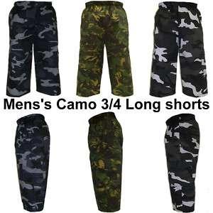 Mens Camo 3/4 Length Army Combat Trouser Shorts Pants