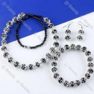 Black Crystal Round Flower Bead Necklace Bracelet Earring Jewelry