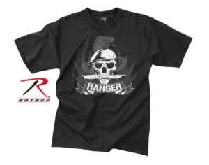 NEW RANGER US RANGERS ARMY SKULL BLACK T SHIRT