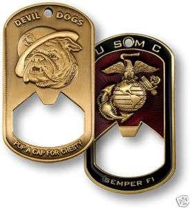 MARINE CORPS DOG TAG BOTTLE OPENER CHALLENGE COIN USMC