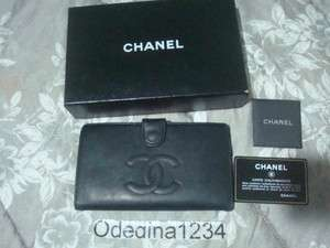 Authentic Chanel CC Logo Black Lambskin Leather Wallet Clutch Small