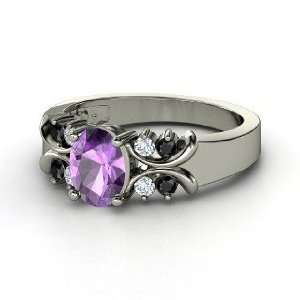 Gabrielle Ring, Oval Amethyst Sterling Silver Ring with