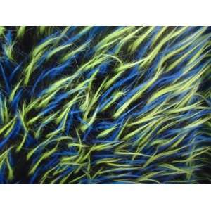 Faux Fake Fur Spike Neon Green Blue Black 3 Tone Fabric By