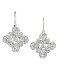 14 Kt White Gold 1/4 ct Diamond Pave Earrings