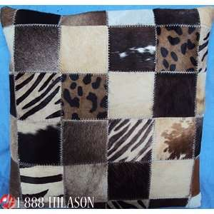 Cowhide Leather Hair On Patchwork Cushion Pillow Cover