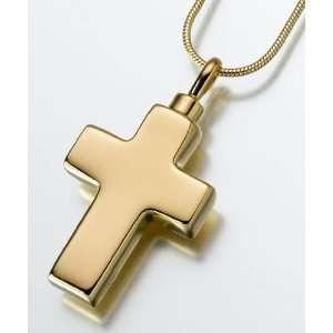 Large Gold Vermeil Cross Keepsake Urn Pendant