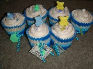 Baby shower favors Diaper cupcakes lot of 15 Boy
