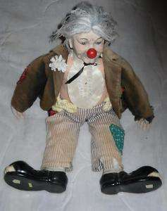 OLD Hobo Clown Porcelain/Clay,Ceramic ? Doll,Sold AS IS