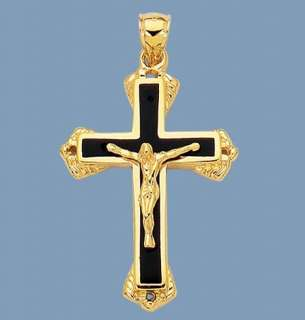 Mens SOLID Cross Crucifix 14K Yellow Gold Black Onyx