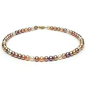 7, 5 8mm Multi Colored Freshwater Pearl Necklace Jewelry
