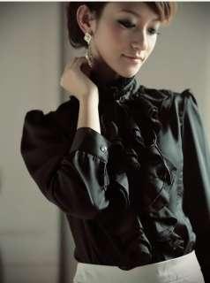 yrfashion Korean Fashion Women Elegant Flounced Frills White Black