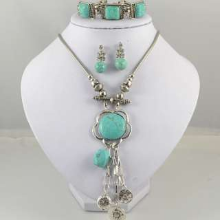Tibetan Silver Turquoise Necklace Bracelet Earring Jewelry Set S06