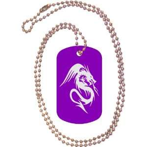 Tribal Dragon Purple Dog Tag with Neck Chain Everything