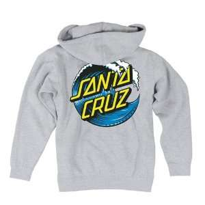 Santa Cruz Zip Up Hoodies Wave Dot   Charcoal Heather