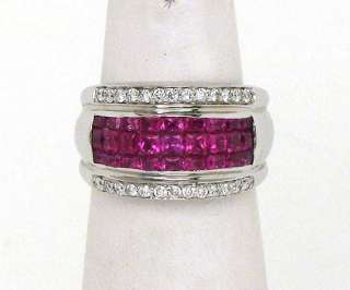 EXQUISITE 18K, DIAMONDS & INVISIBLY SET RUBIES RING