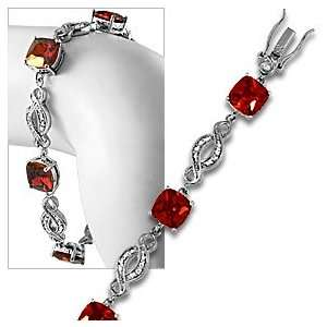 Sterling Silver CZ Simulated Garnet Red Tennis Bracelet
