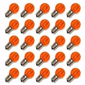 G30 Intermediate Screw Base Amber LED 25 Pack Christmas Light Bulbs