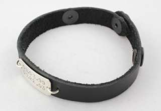 Sterling Silver Black Leather Bracelet Handstamped Personalized Custom