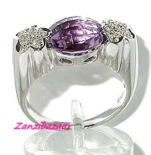 18K WHITE GOLD BRIOLETTE CUT AMETHYST & DIAMOND RING