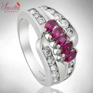 Jewelry 18k GP Round Marquise Cut Red Ruby Sapphire Ring SZ M/6