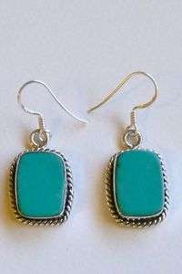 Sterling Silver Natural Turquoise Dangle Earrings