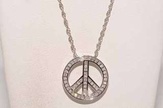 32CT DIAMOND PEACE SIGN NECKLACE .925 STERLING SILVER