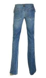 CAVALLI FABULOUS CRYSTAL BEADS EMBROID BLUE COTTON JEANS PANTS 40/6