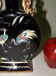 Chinese Black & Gold Crane & Dragon Moon Flask Vase