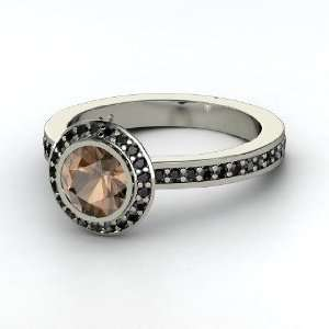 Roxanne Ring, Round Smoky Quartz 14K White Gold Ring with