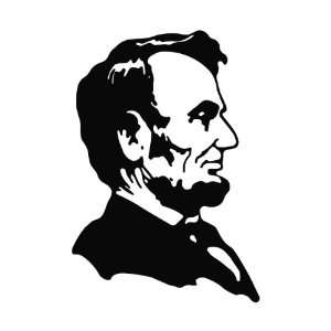 Abe Lincoln Die Cut Vinyl Decal Sticker   6.75 White