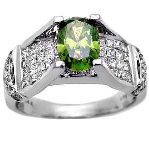 2.42ct Green Oval Diamond Engagement Ring 14k White Gold