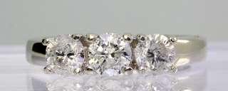 00CT ROUND BRILLIANT DIAMOND 3 STONE ENGAGEMENT RING 14K WHITE GOLD