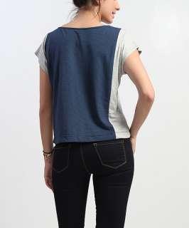 MOGAN Stripe Colorblocked Dolman Short Sleeve TOP Chic Casual Jersey