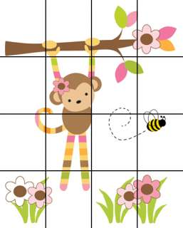 JUNGLE MONKEY BEE PINK BROWN GREEN BABY GIRL NURSERY WALL MURAL