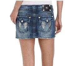 New Womens Miss Me Jeans JP5082I13 Denim Mini Skirt Sequin Pocket 27