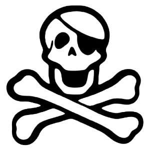 Pirate Skull and Crossbones Black Vinyl Wall Decal Sticker