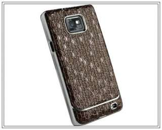 Chrome Diamond Leather Hard Cover Case Fr Samsung Galaxy S2 i9100 SII