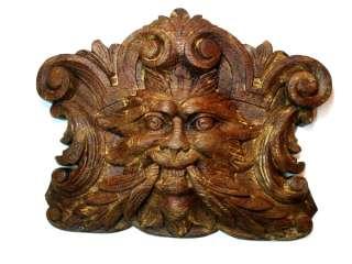 wooden oak ? carving carved devil satan monster lion head ?