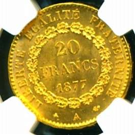 LUCKY ANGEL GOLD COIN 20 FRANCS reverse