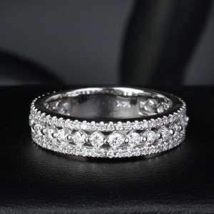 DIAMOND 14K WHITE GOLD WEDDING ETERNITY BAND RING Size 6 Fashion New