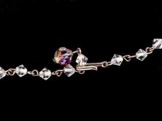 Vintage Aurora Borealis 4 Strand Crystal Bead Necklace
