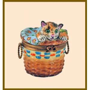 Cute Kitty Cat in a Basket French Limoges Box